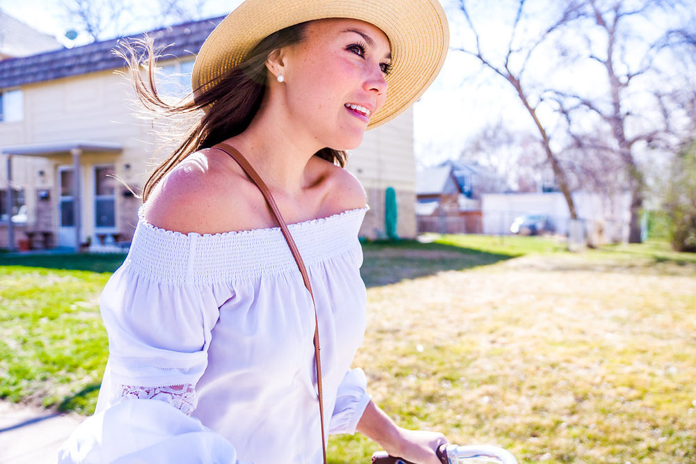 Perfect off the shoulder top with lace details