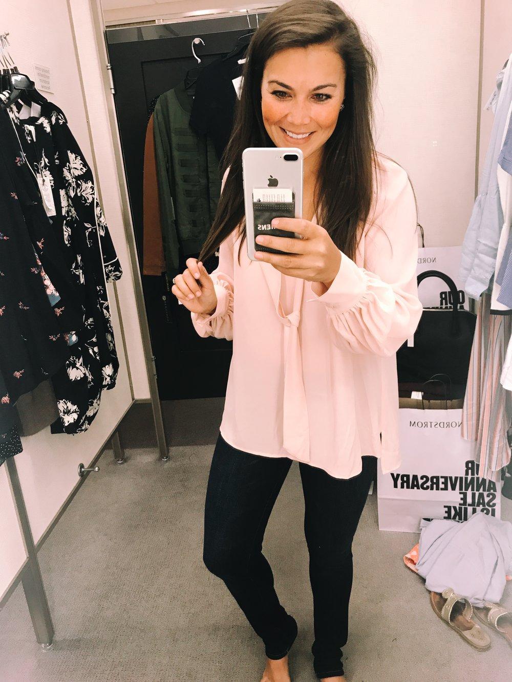 Blush tie blouse $45.90 // Jeans $59.90