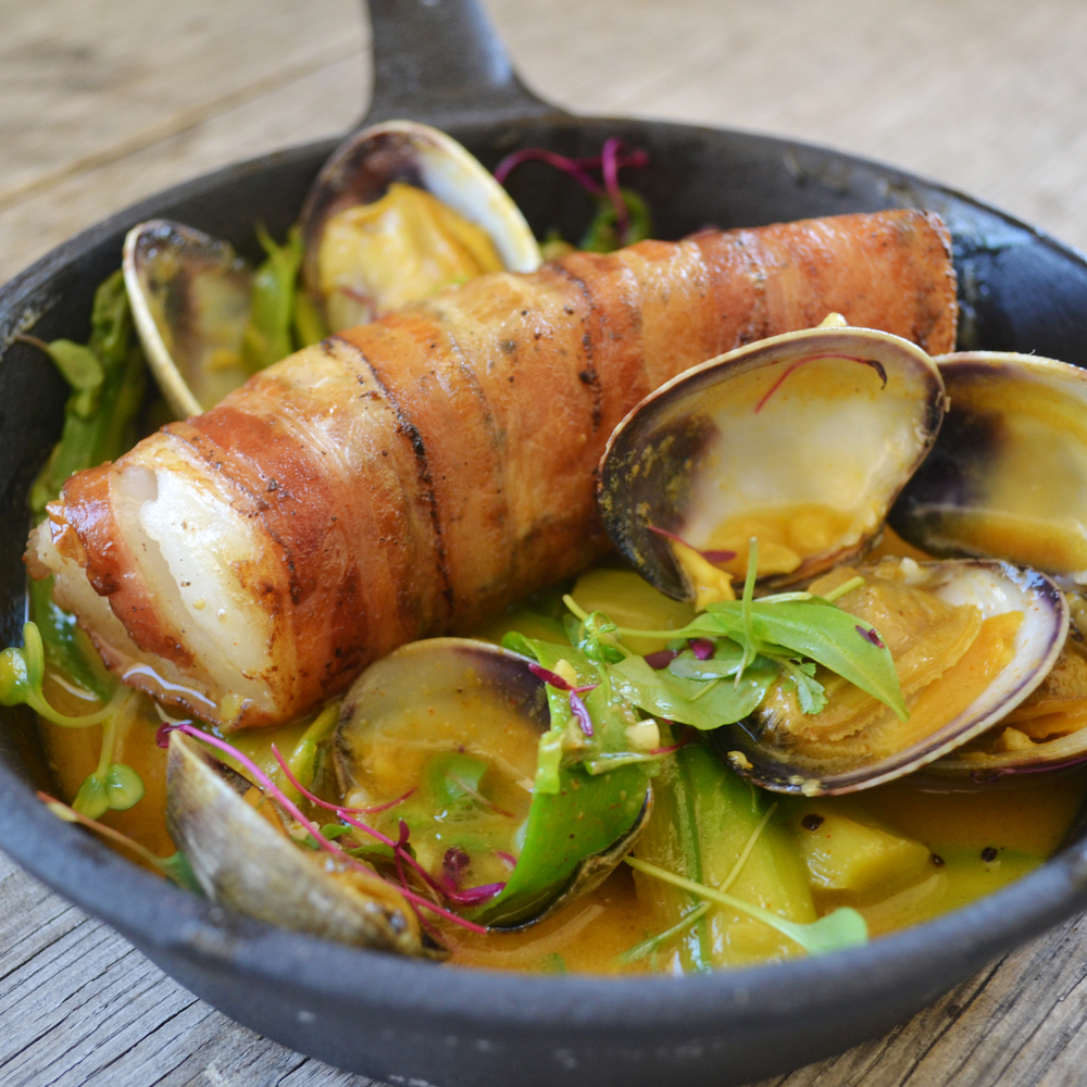 Smoked Pork Belly Wrapped Cod, Shaved Asparagus, Clams & Saffron Broth (2).JPG