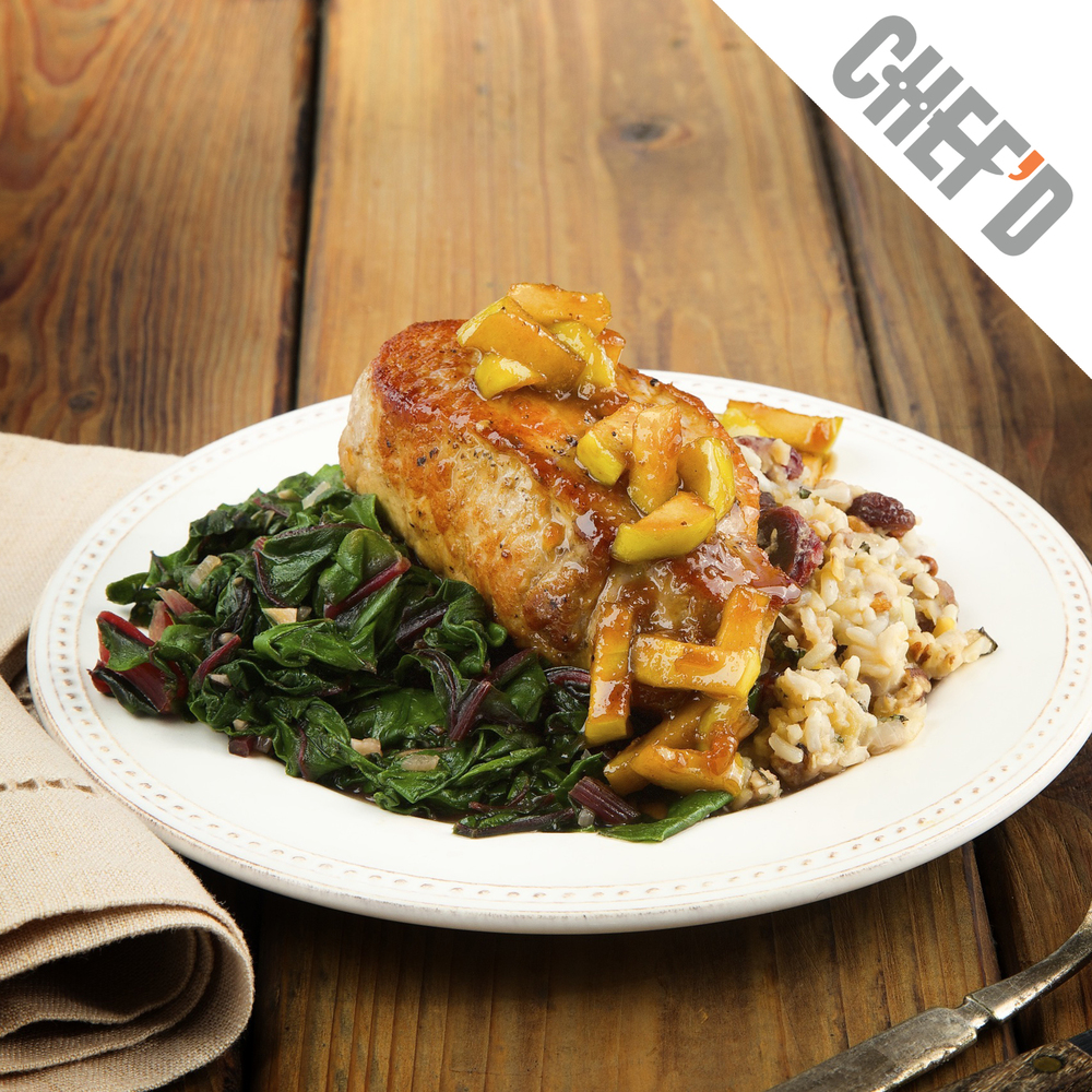 Apple Glazed Pork Chops with Pecan Lentil Rice Duo Pair With Nº 19 Chardonnay