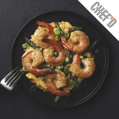 Shrimp & Asparagus with Parmesan Grits   Pair With   Nº 4 Signature White Blend