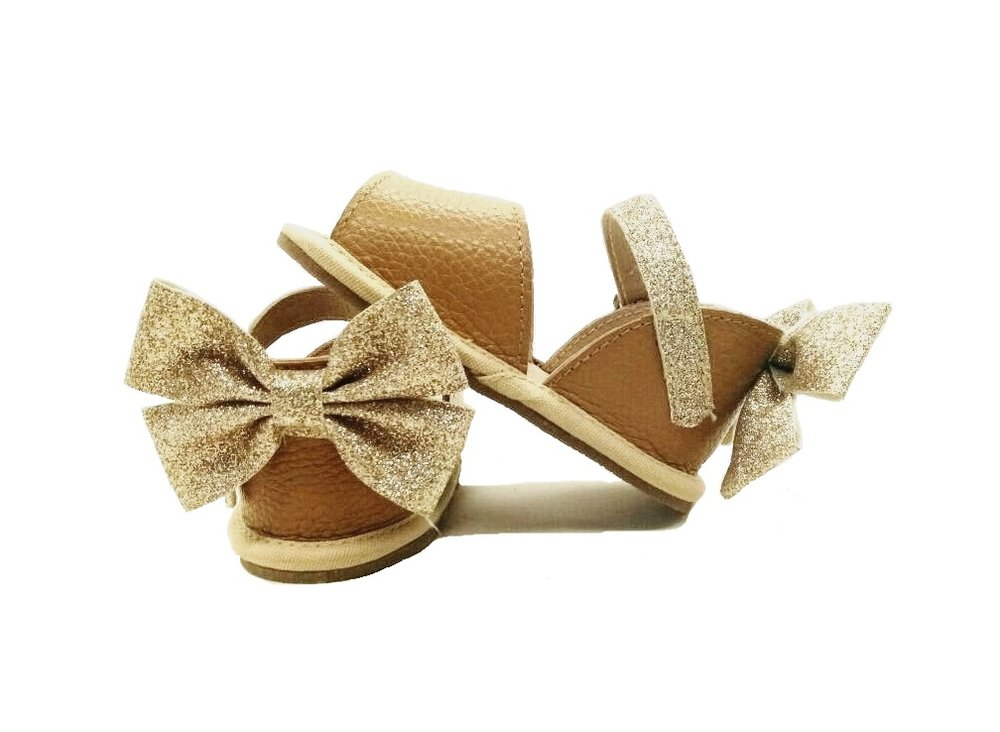 Bella Simone Leather Brown and Gold Glitter Sandal.jpg