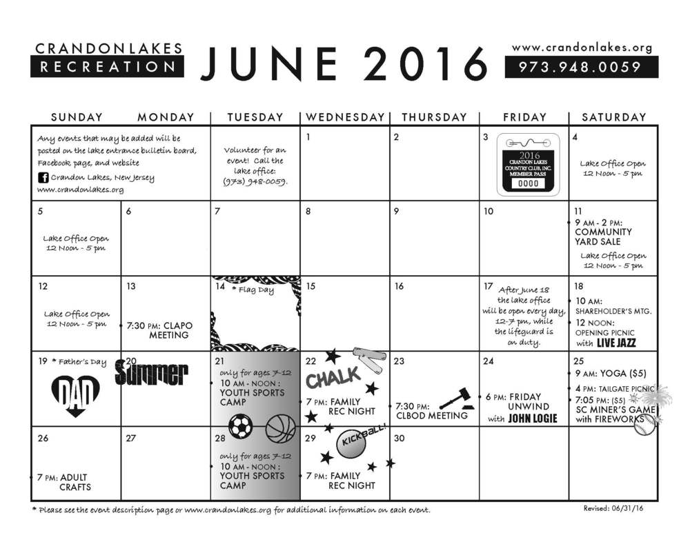 June 2016 Crandon Lakes Recreation Calendar