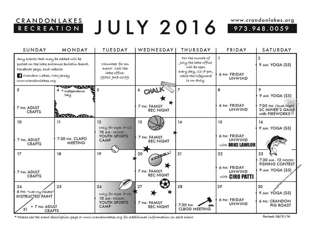 July 2016 Crandon Lakes Recreation Calendar