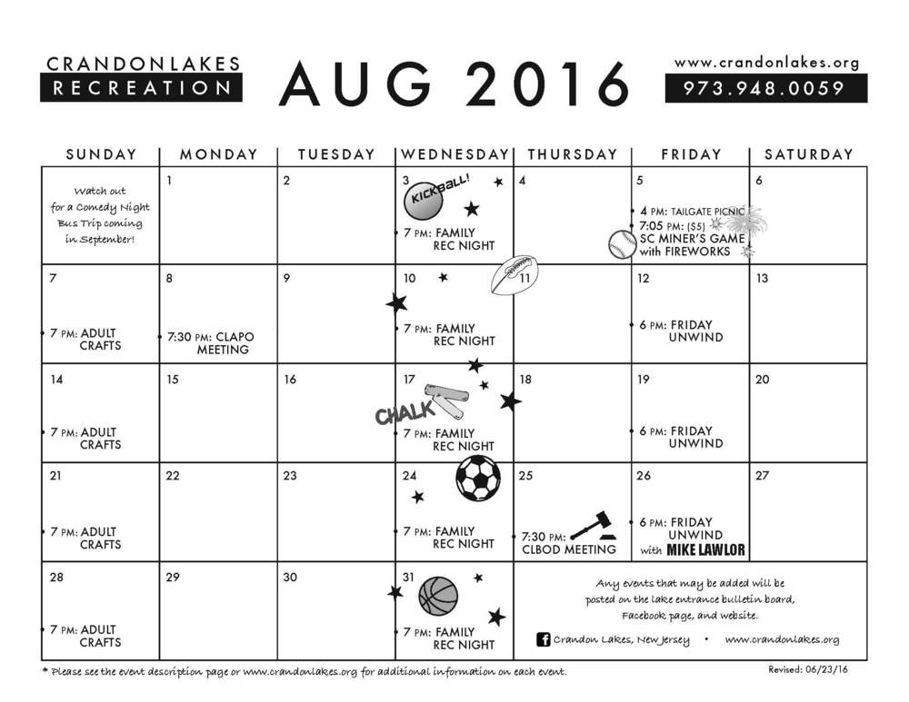 August 2016 Crandon Lakes Recreation Calendar