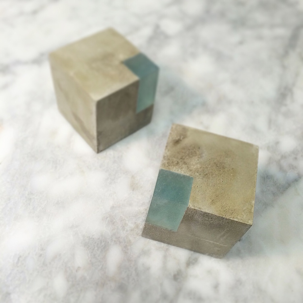 Pale Blue Cube Bookends