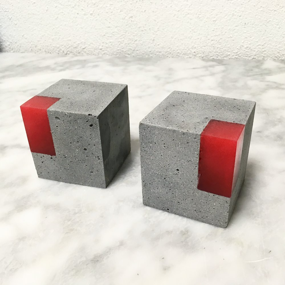 Concrete and resin bookends by Love&Quarry