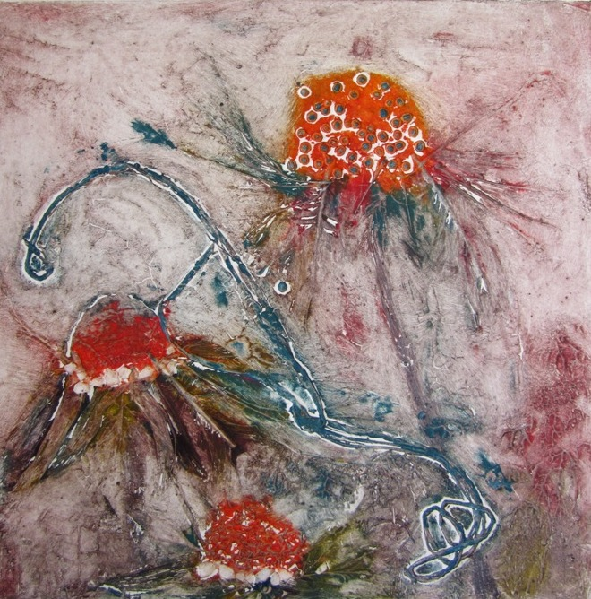 Image 5 - Orange Coneflowers - Collagraph print - Susan Greenbank 2014.JPG