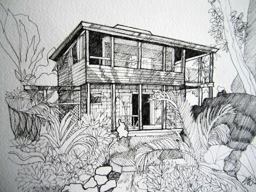 Image 3A - Susan Greenbank - Pen and Ink Sketch 2012 - Mike and Phillips house in Nevis (2).JPG