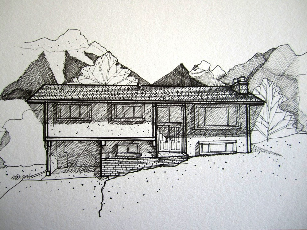 Laidlaw Residence - Fernie - Pen and Ink 2014.JPG