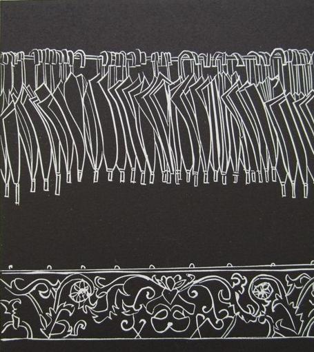 Image 3 - Susan Greenbank 2011 - Linocut print - Umbrellas.JPG