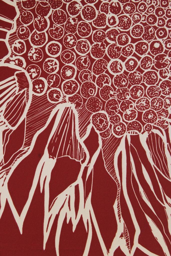Image 10 - BAiR 2015 - Susan Greenbank 2010 - Linocut print - Russian Sunflower.JPG