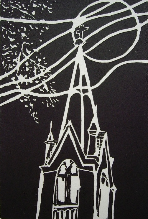 Image 5 - lino cut - Church Steeple at Night 2008 - Susan Greenbank.JPG