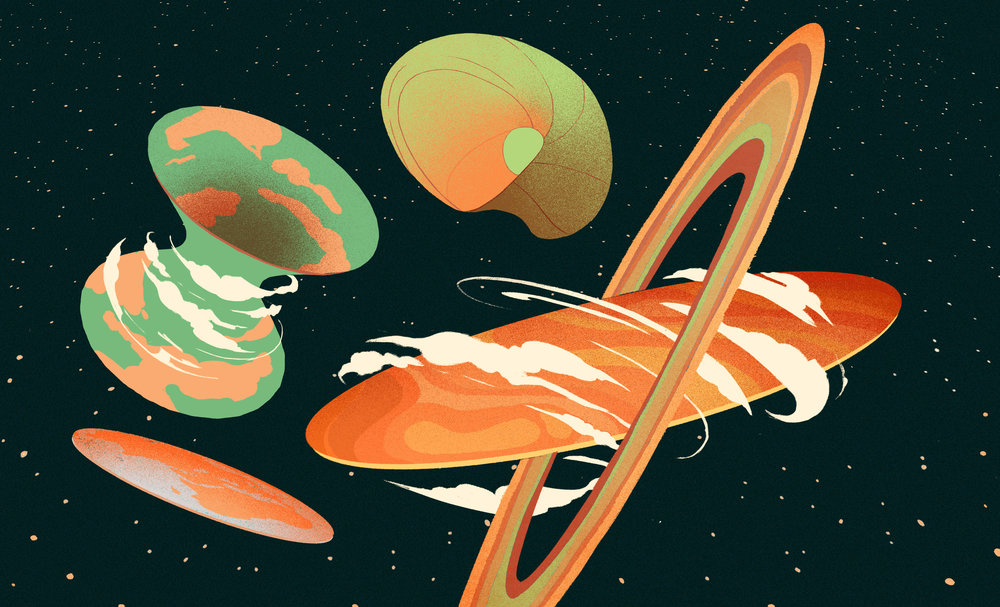 "GIZMODO, <a href=""https://gizmodo.com/what-shapes-are-things-in-outer-space-1825647786"">Giz Asks: What Shapes Are Things in Outer Space?</a>"