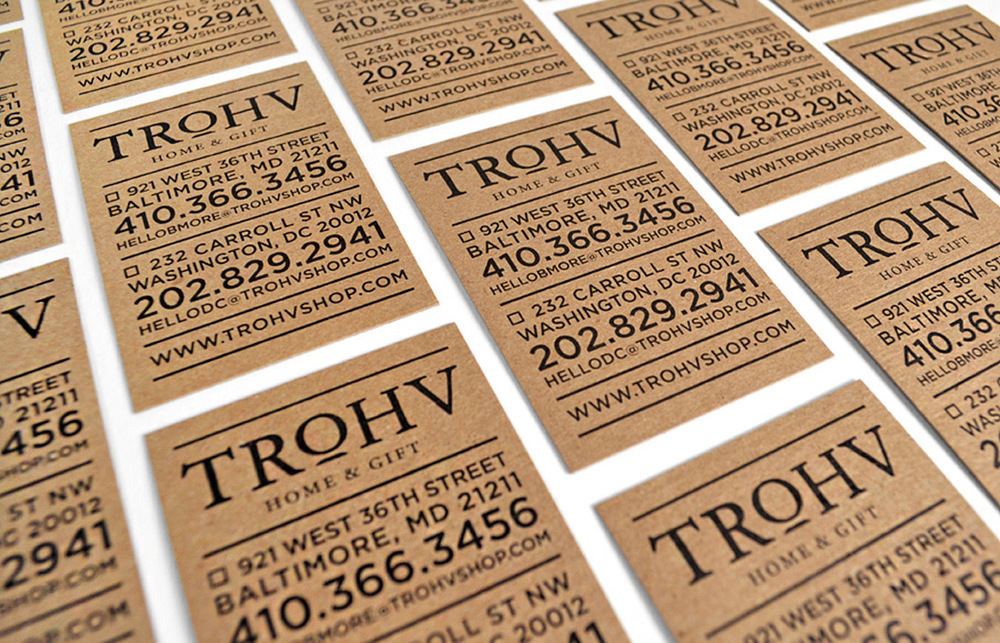 Trohv Home & Gift: Business Card Design