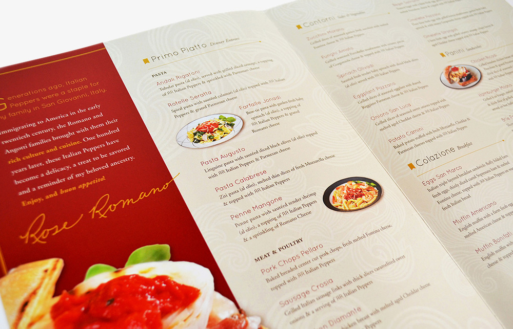 Rose Romano's: Menu Design