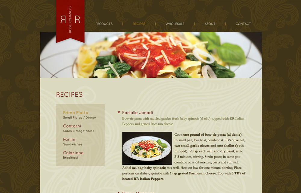 Rose Romano's: Website Design