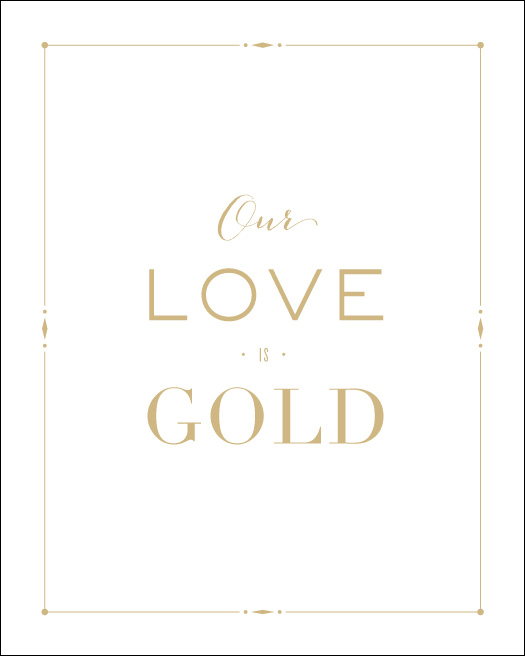 Love Prints: Gold Wall Print