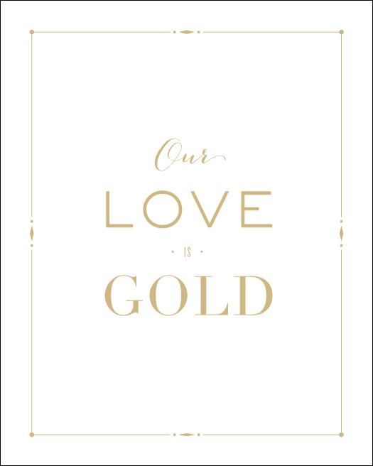 Love Prints: Gold Wall Print