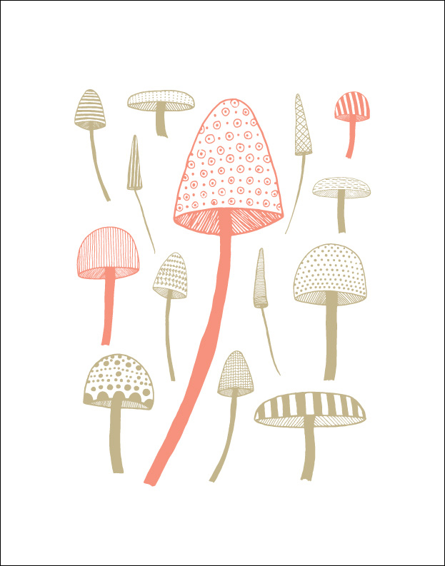 Mushrooms: Wall Print