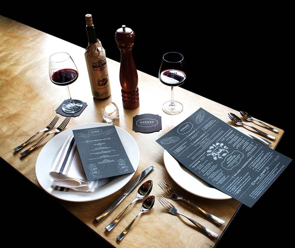 Corner Charcuterie Bar: Menu Design