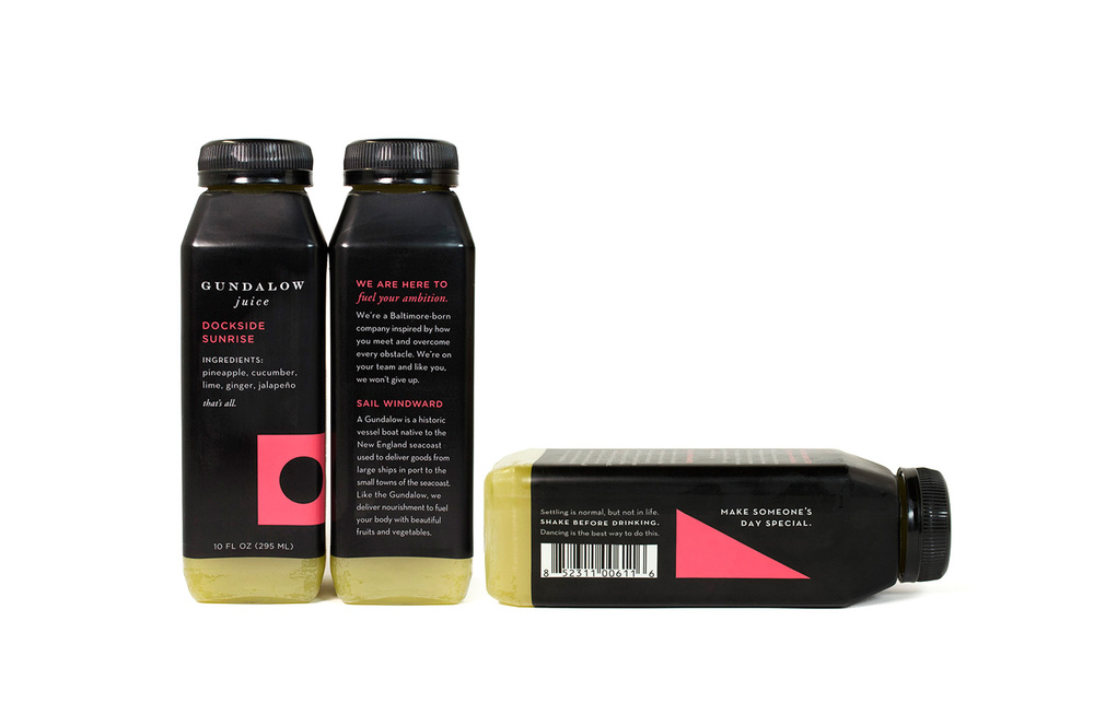 Gundalow Juice: Bottle Package Design for Dockside Sunrise