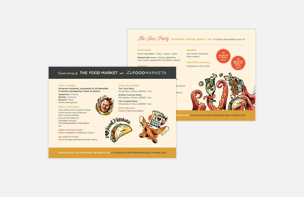 The Food Market: Catering Postcards Design