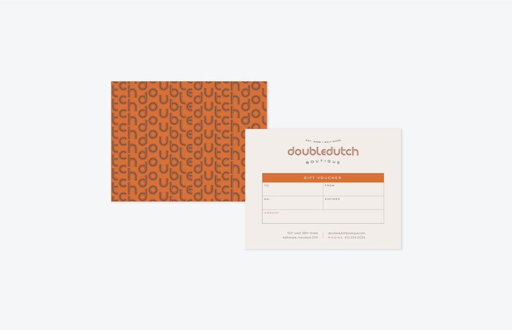 Doubledutch Boutique: Gift Certificate Design