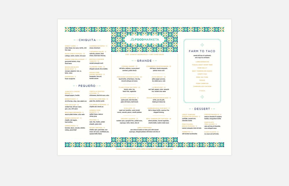 La Food Marketa: Dinner Menu Design
