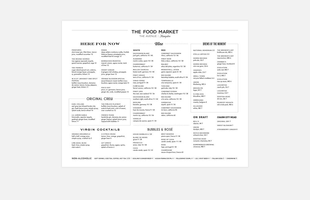 The Food Market: Drinks Menu Design