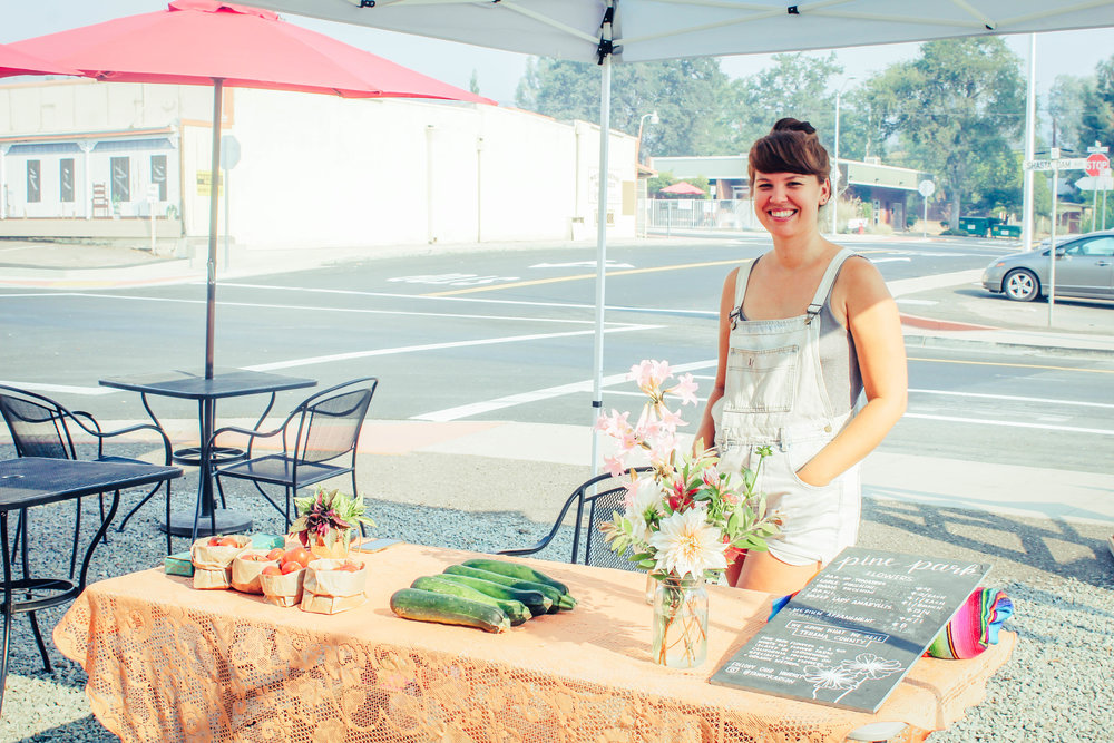 Pine Park Flowers selling Flowers and Produce at the Shasta Lake Farmers Market at Heritage Roasting Co
