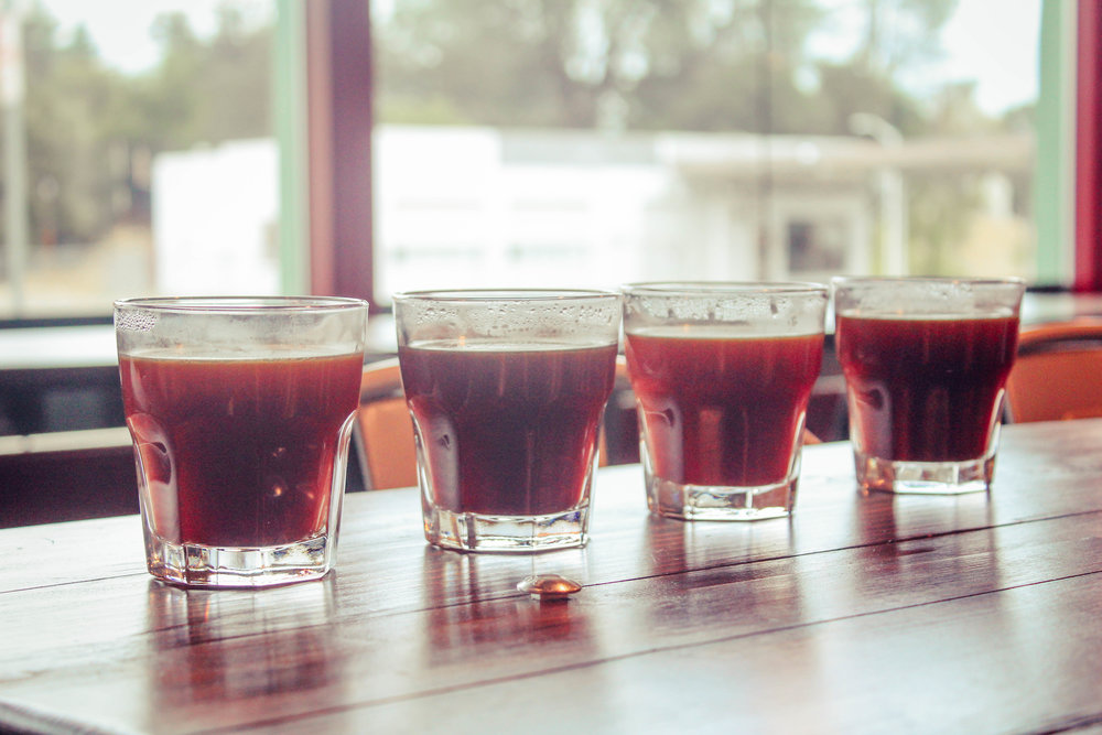 Coffee Flights at Heritage Roasting Co in Shasta Lake, CA - a coffee shop and local roaster just North of Redding with a variety of single origin coffees and multiple brew methods available. Whats your favorite?