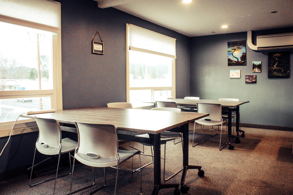 A great environment for a freelancers office or a quiet space for students to get homework done! Conveniently located at coffee shop and roasterie, Heritage in Shasta Lake, just north of Redding...you're sure to be able to fuel up through out your day on coffee and light eats.