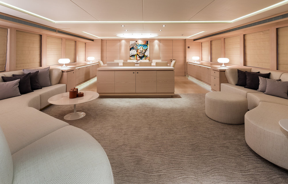 M/Y G3 Salon and Dining Area