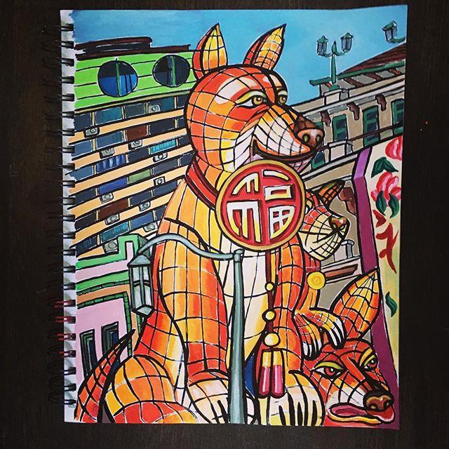 Yearofthedog#sketchbook #chinatown #lantern#mutts #giantlanterns