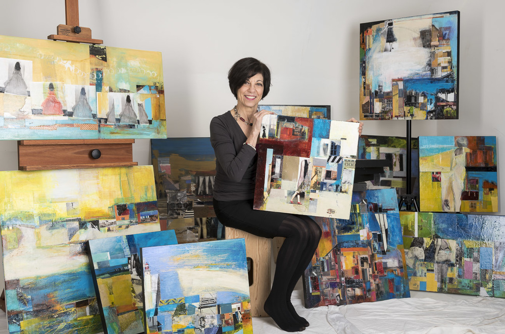 Peggy Ann with a collection of recent work, December 2015.