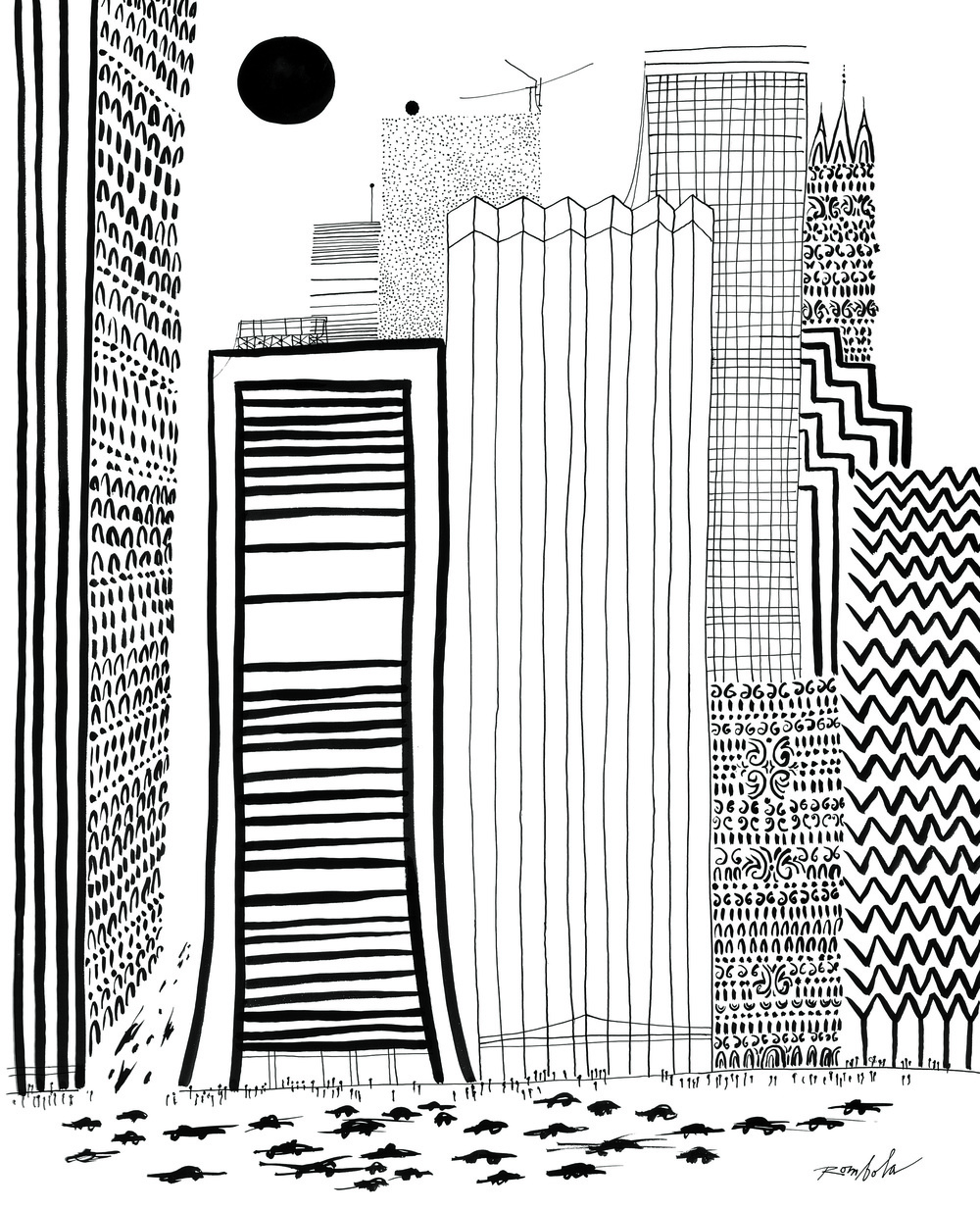 Skyscrapers   1968 Ink on paper. Published in   Town & Country   September 1980.
