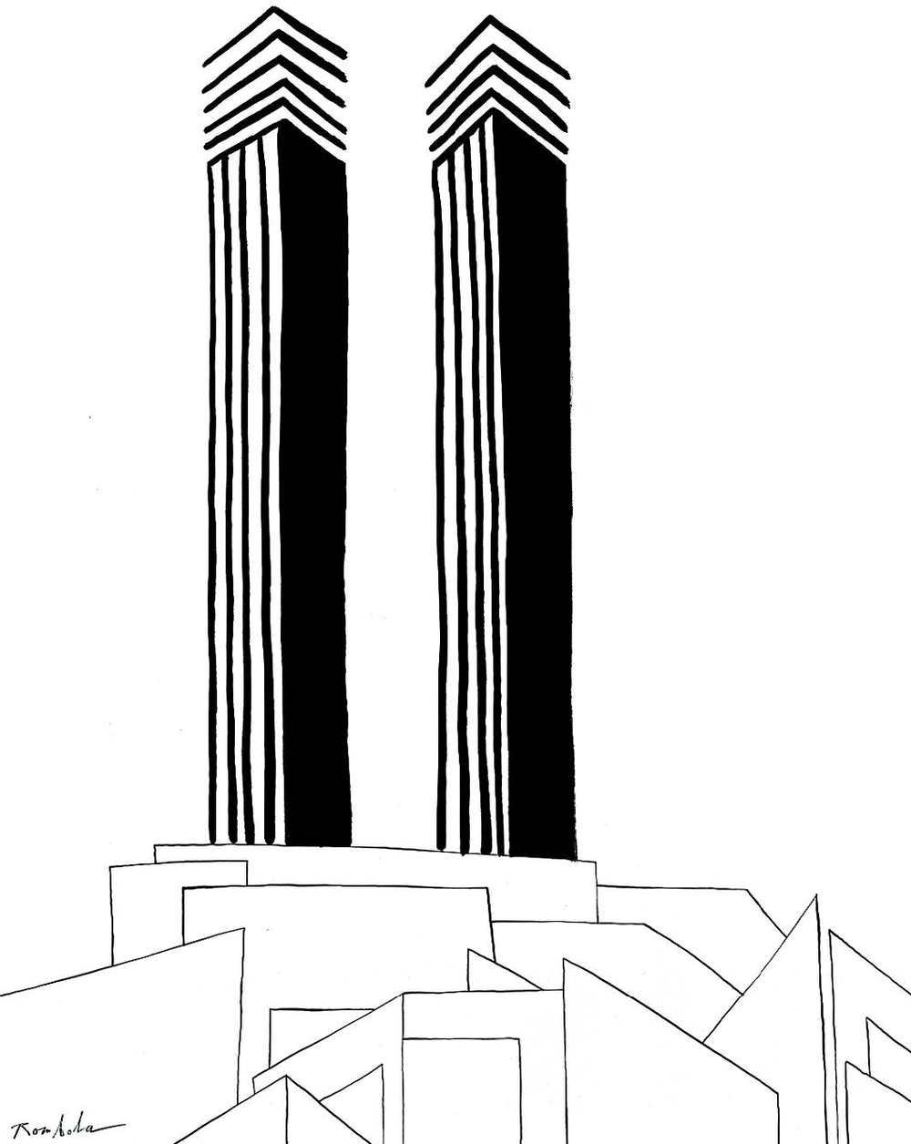 Twin Towers   circa 1973 / 74 Ink on paper