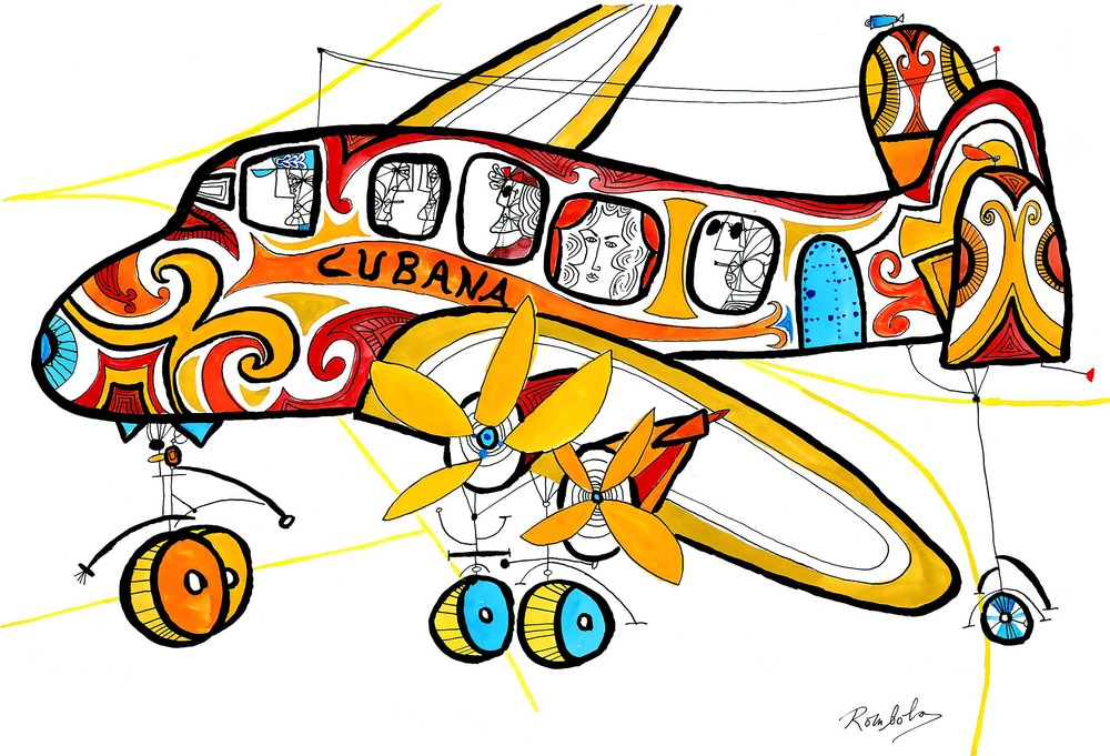 Cubana Arrival    1963 Gouache and ink on paper.