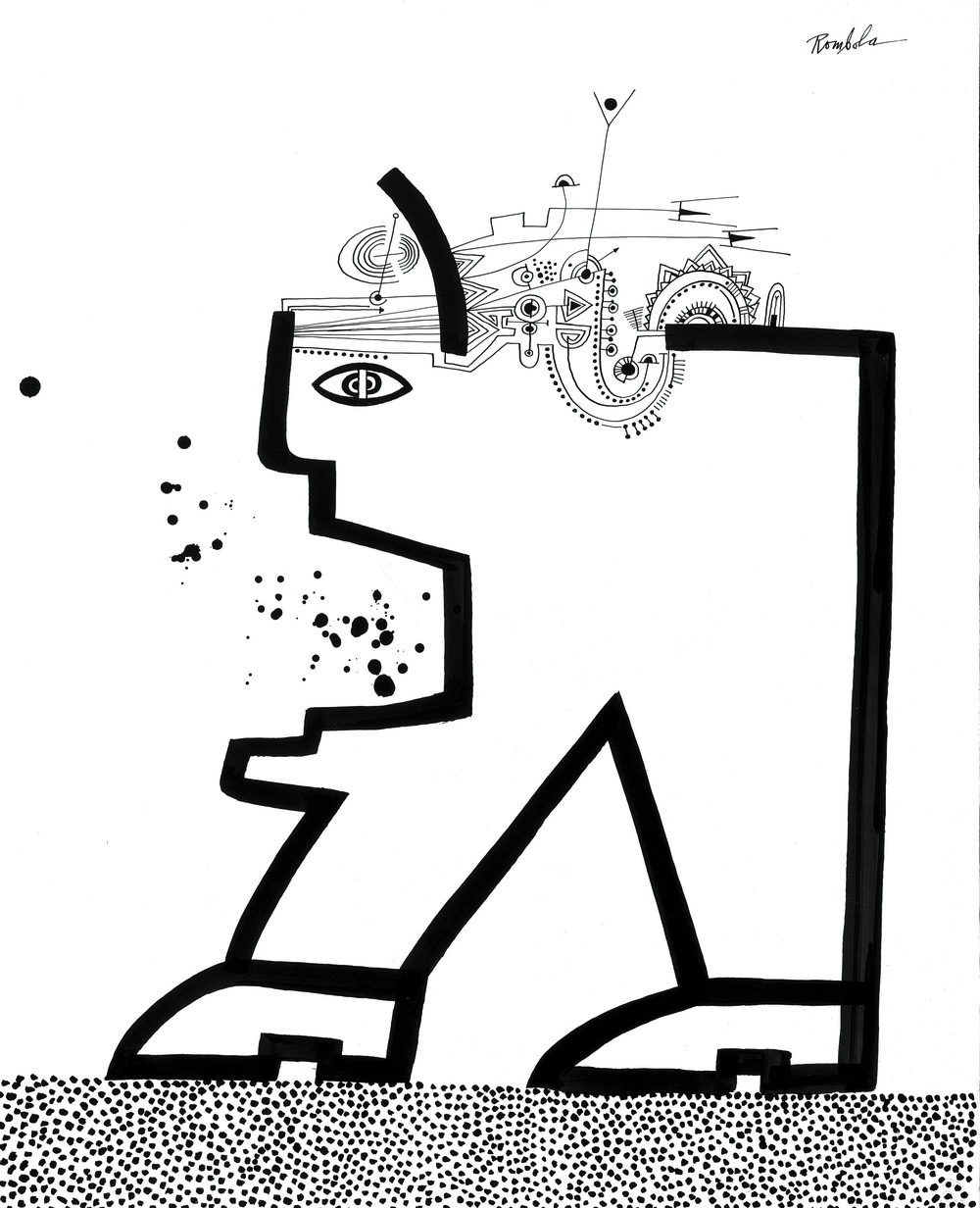 Big Head Walking    Ink on paper 1966