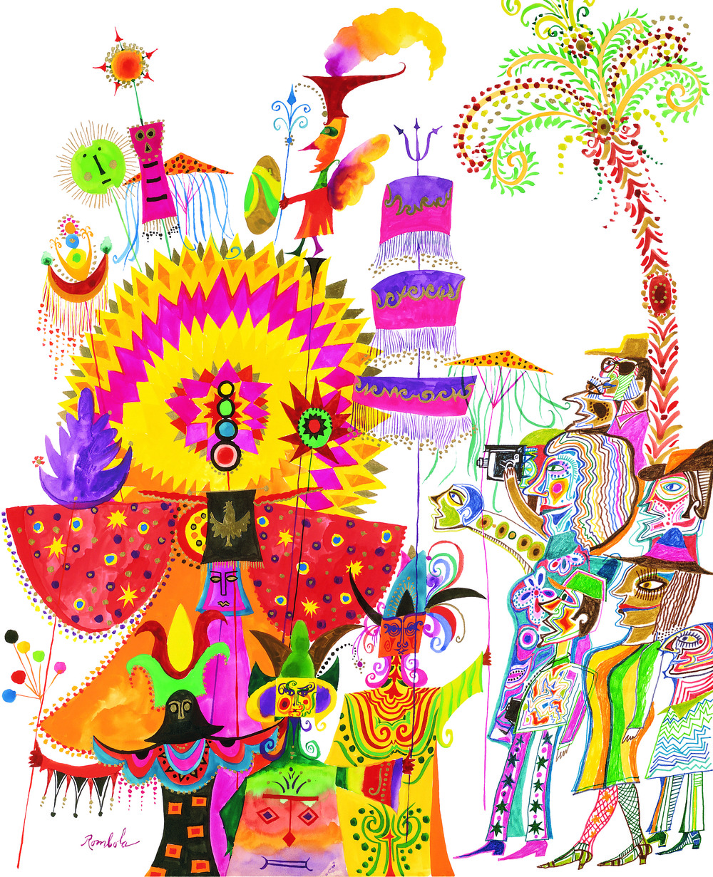 Carnival Parade    1968 Gouache and colored pencil on paper. Published in Travel & Leisure, 1976