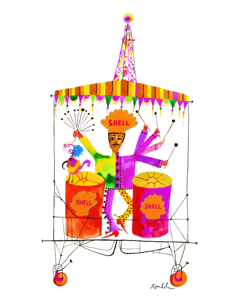 Carnival Shell Steel Drummer    1968 Gouache and ink on paper. Published in the  New Yorker  for promotional usage, 1995