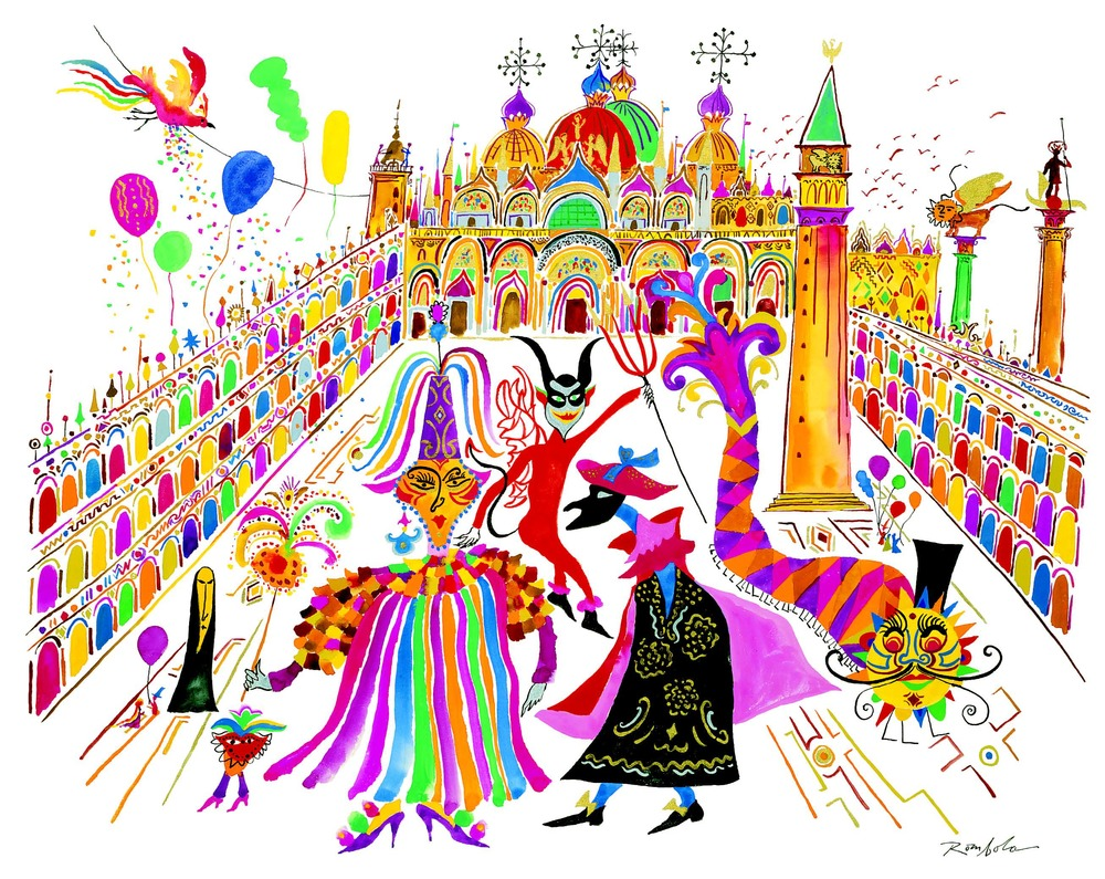Carnivale in Piazza San Marco    Gouache on paper  1992