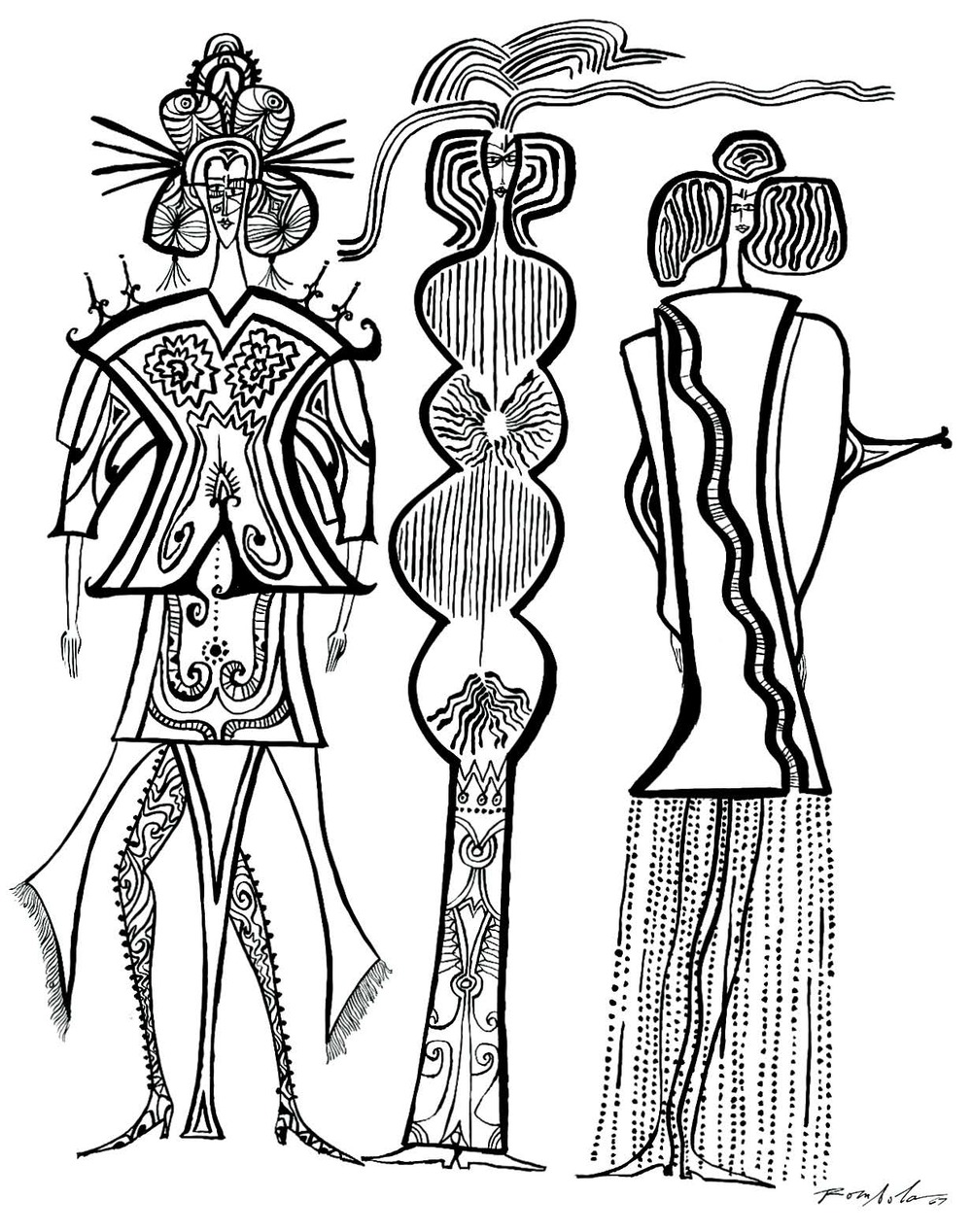 Three Fashionable Women    Ink on paper 1967