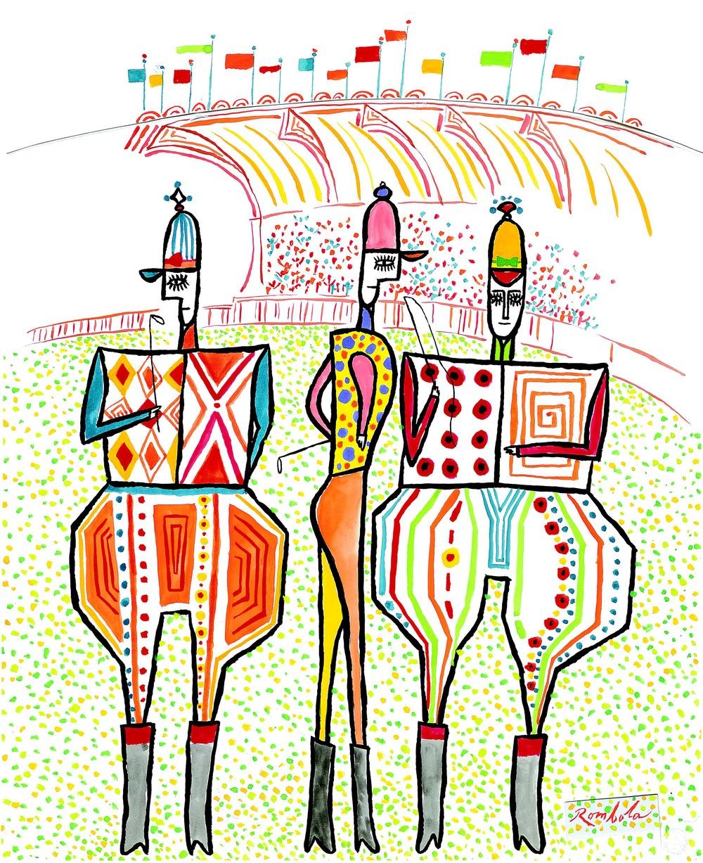 The Three Jockeys    1960 Gouache on paper
