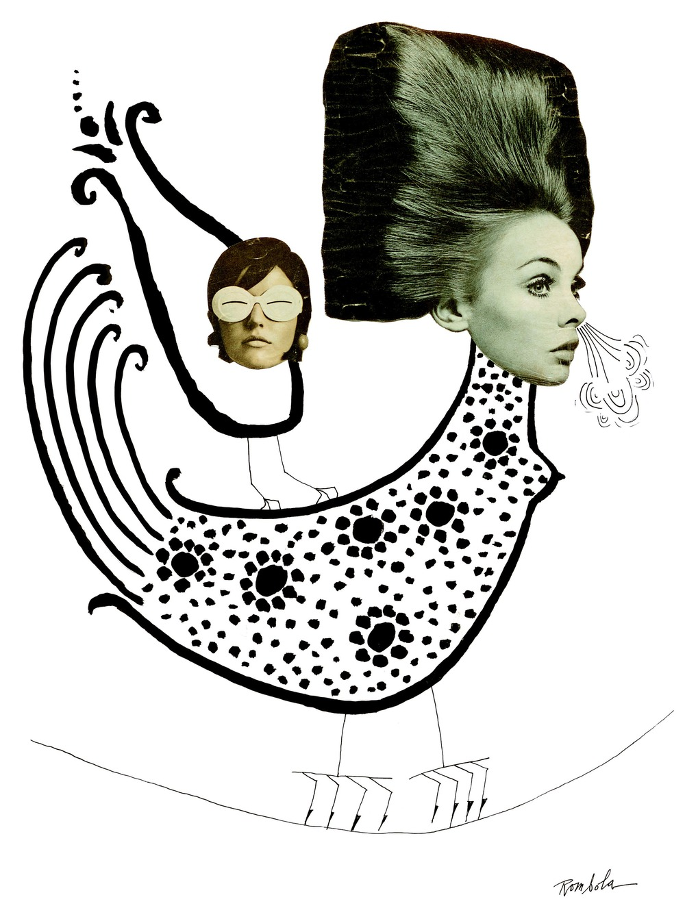Jean Shrimpton as Bird    India ink and collage on paper 1968