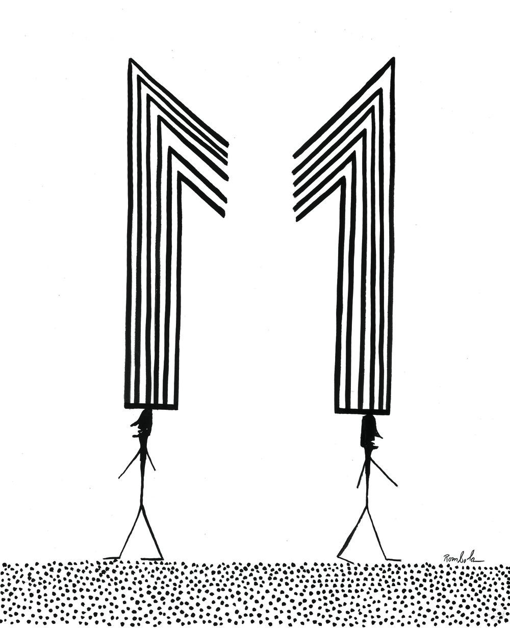 Splitting M    Ink on paper 1967