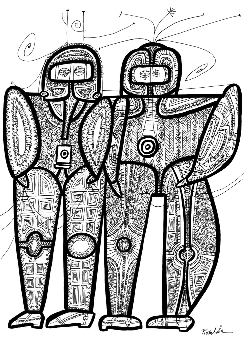 Two Astronauts    Ink on paper 1967
