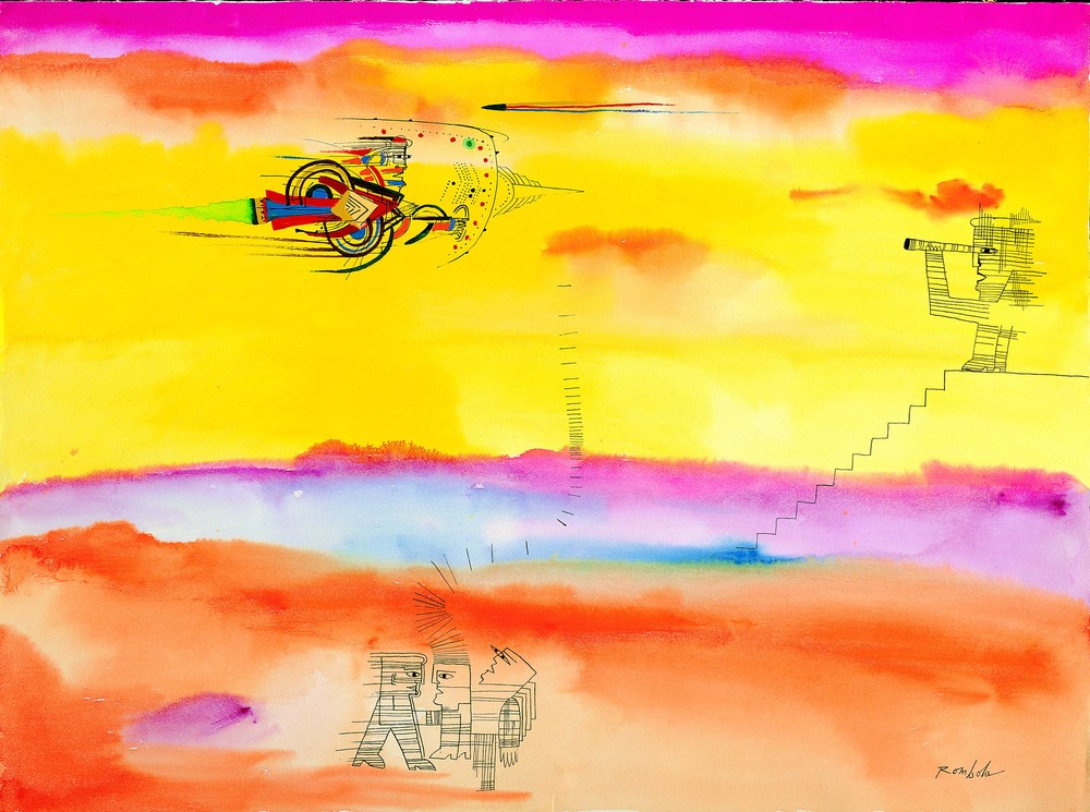 Spaceship Approaching    Gouache and ink on watercolor paper 1967