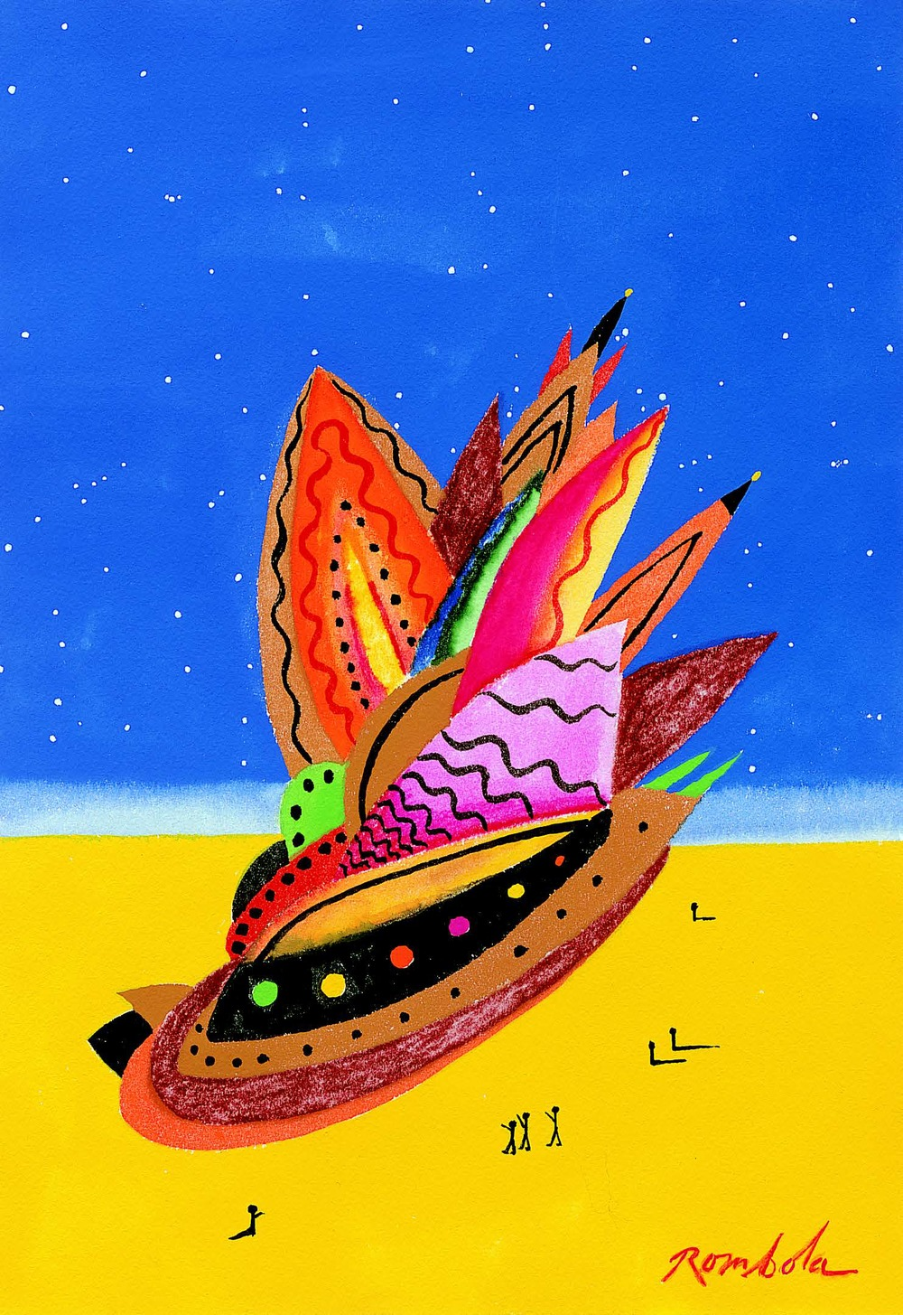 Spaceship    Gouache on watercolor paper 1967